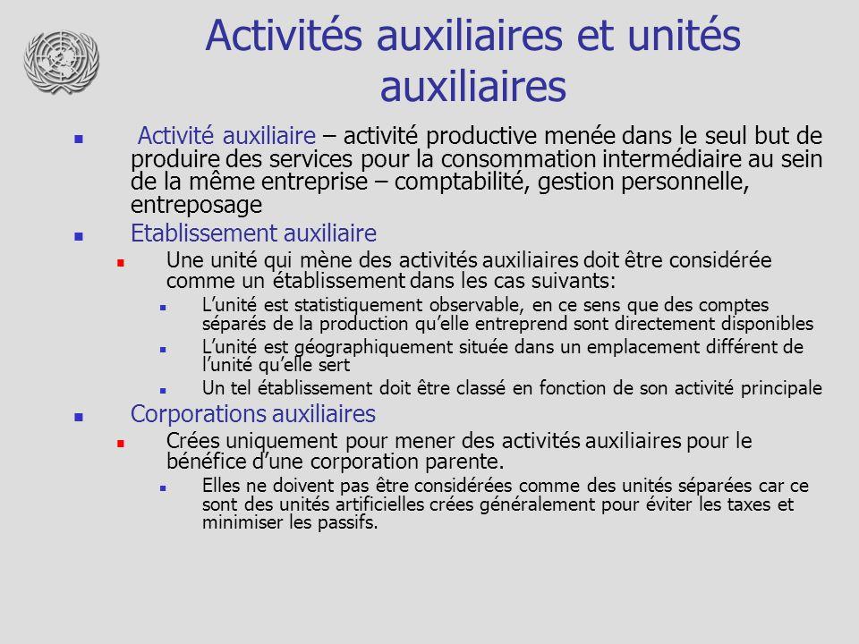 Activités auxiliaires et unités auxiliaires