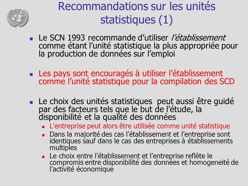Recommandations sur les unités statistiques (1)