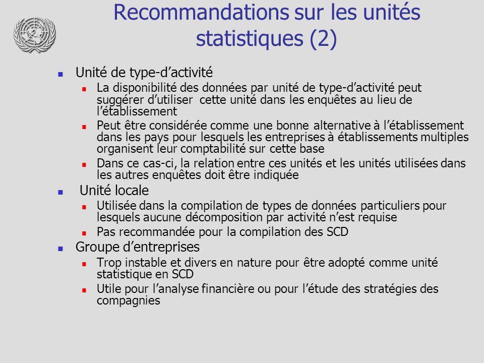 Recommandations sur les unités statistiques (2)
