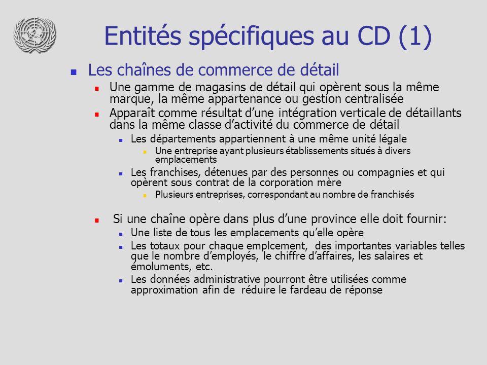 Entités spécifiques au CD (1)