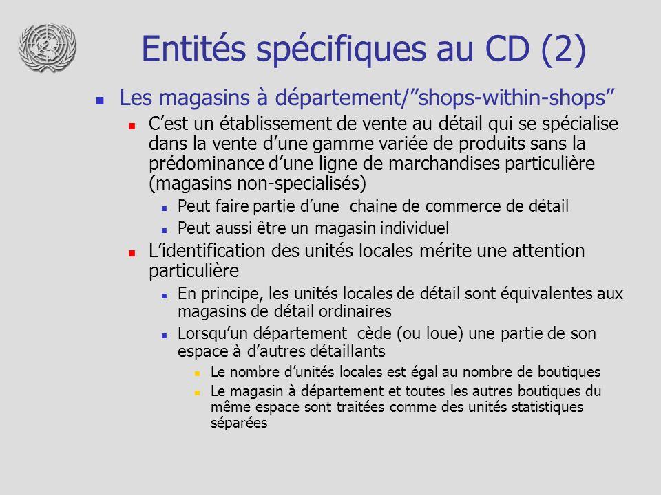 Entités spécifiques au CD (2)