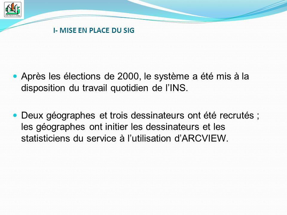 I- MISE EN PLACE DU SIG Après les élections de 2000, le système a été mis à la disposition du travail quotidien de l'INS.