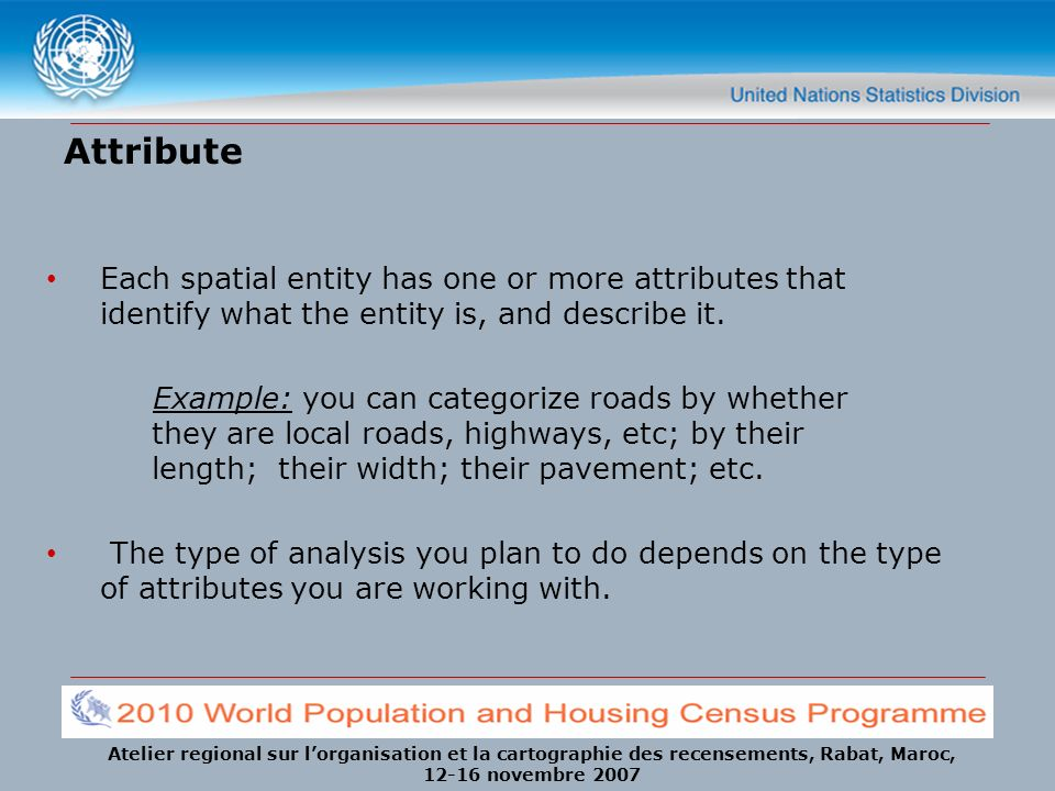 Attribute Each spatial entity has one or more attributes that identify what the entity is, and describe it.