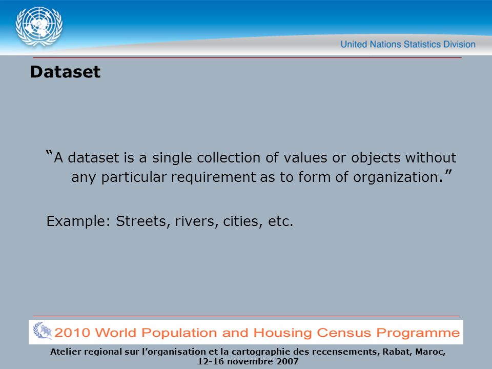 Dataset A dataset is a single collection of values or objects without any particular requirement as to form of organization.