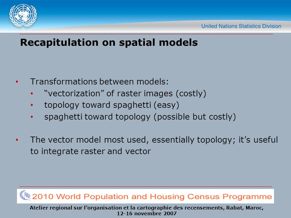 Recapitulation on spatial models