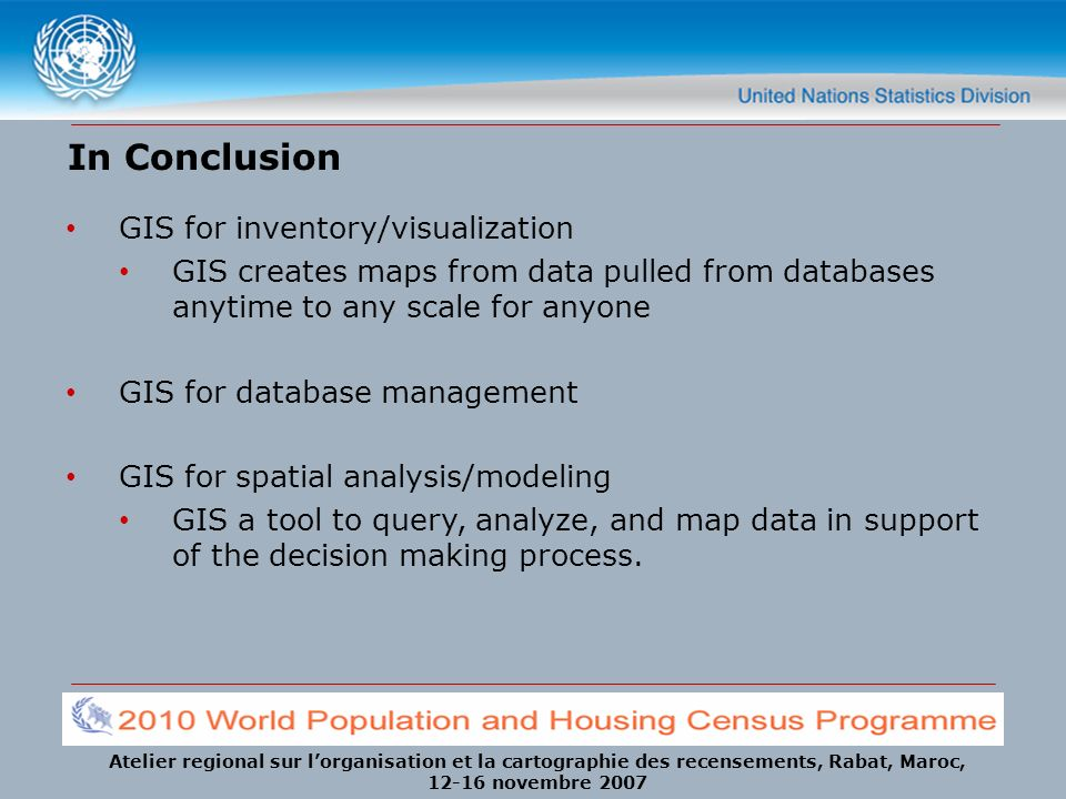 In Conclusion GIS for inventory/visualization