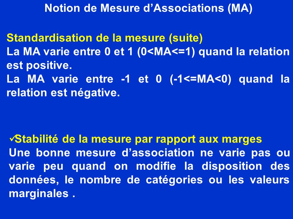 Notion de Mesure d'Associations (MA)