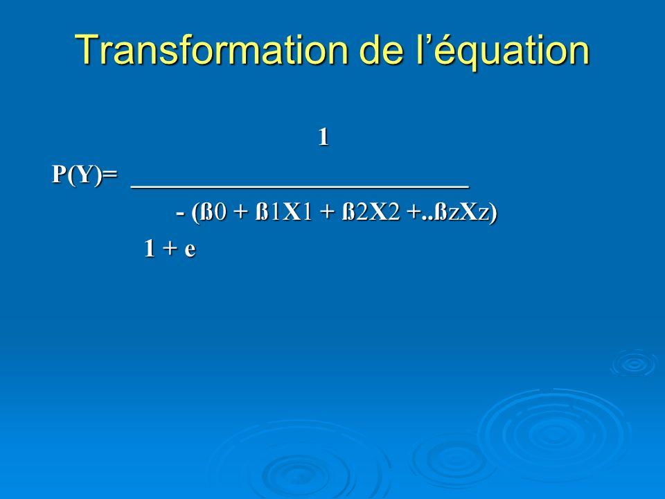 Transformation de l'équation