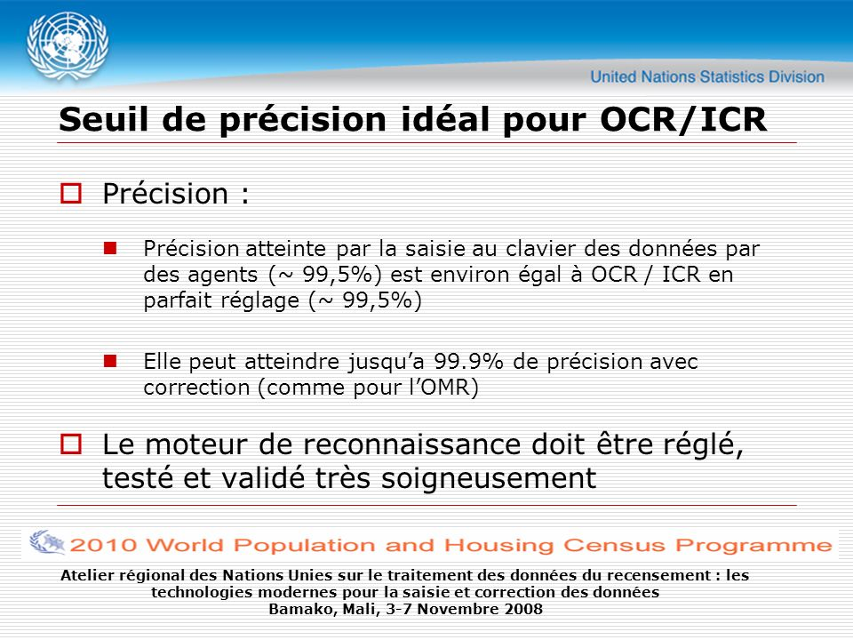 Seuil de précision idéal pour OCR/ICR