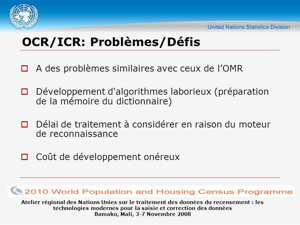 OCR/ICR: Problèmes/Défis