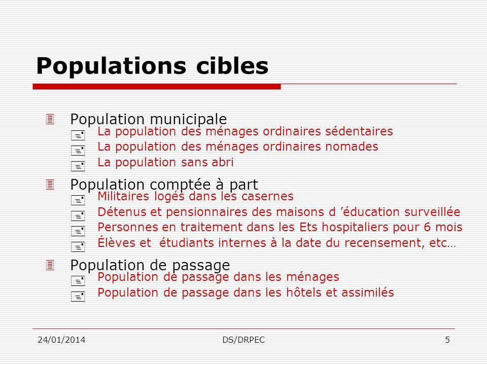 Populations cibles La population des ménages ordinaires sédentaires