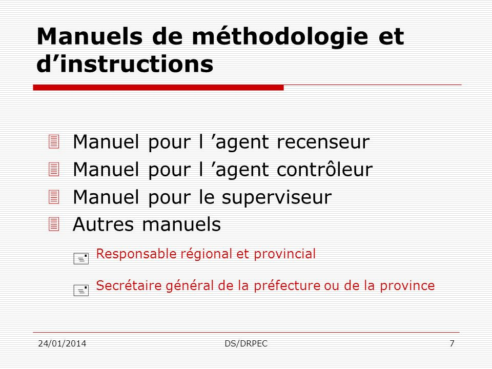 Manuels de méthodologie et d'instructions