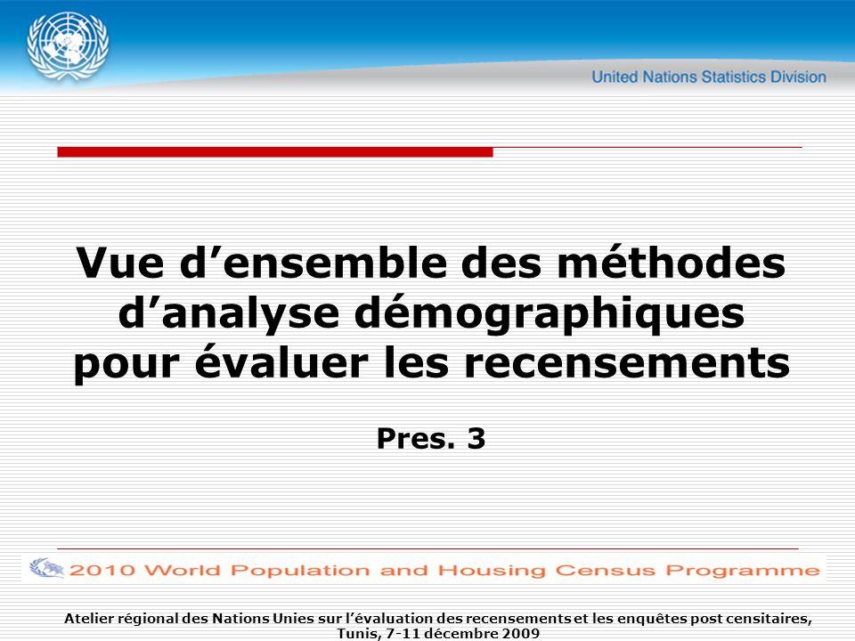 Vue d'ensemble des méthodes d'analyse démographiques pour évaluer les recensements Pres. 3
