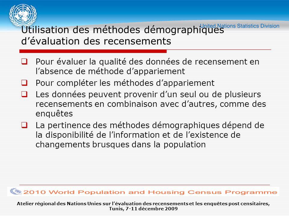 Utilisation des méthodes démographiques d'évaluation des recensements