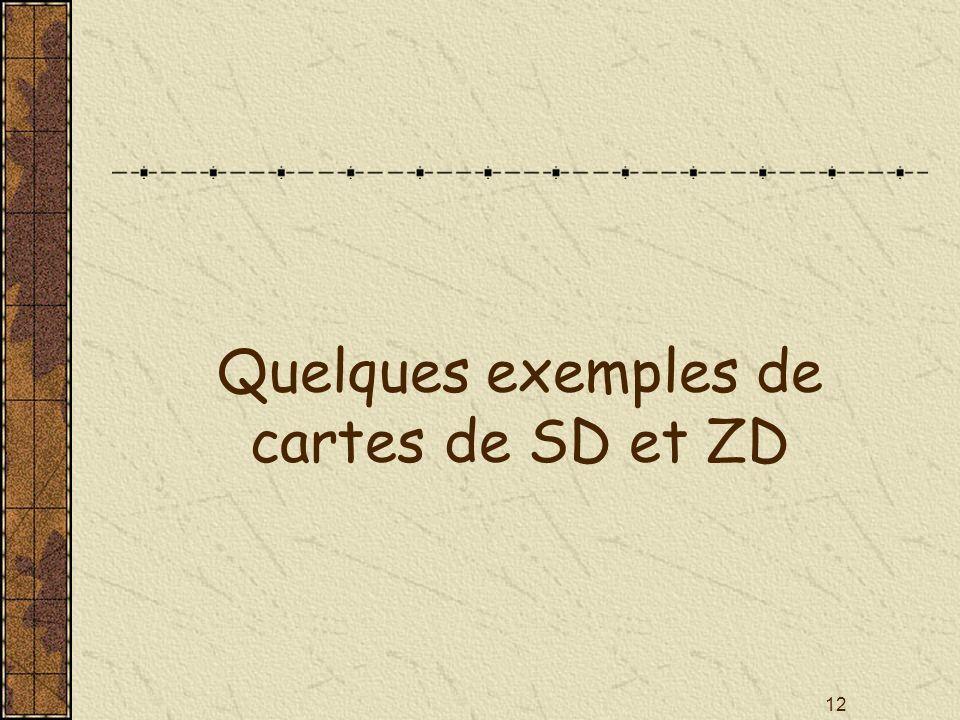 Quelques exemples de cartes de SD et ZD
