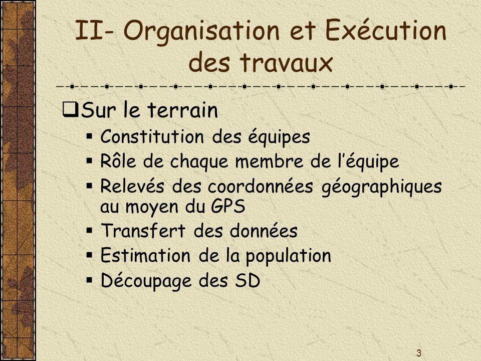 II- Organisation et Exécution des travaux
