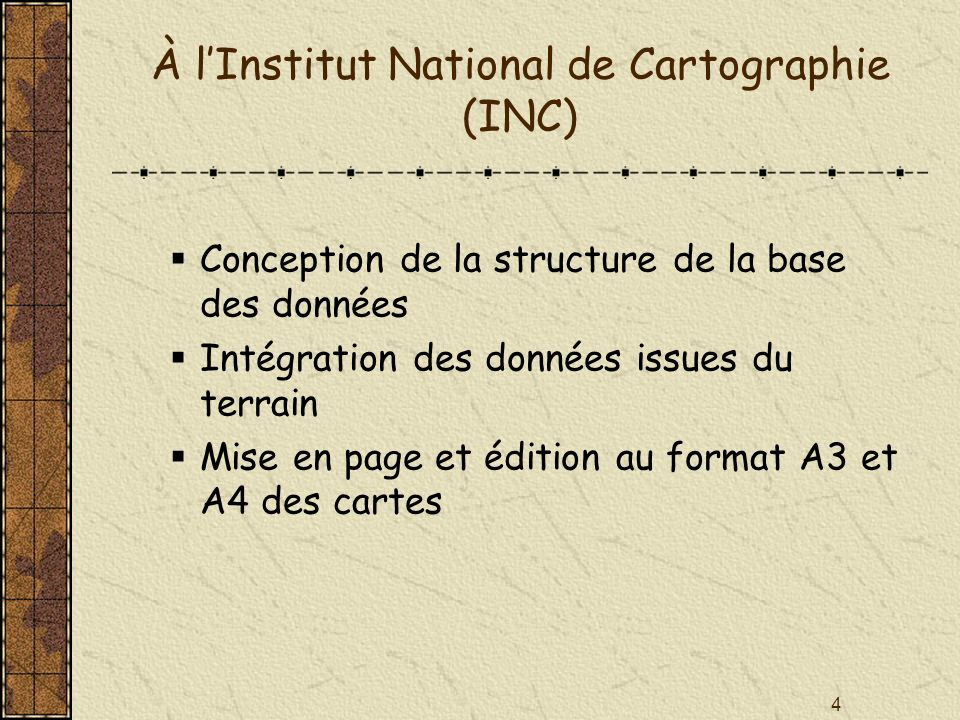 À l'Institut National de Cartographie (INC)