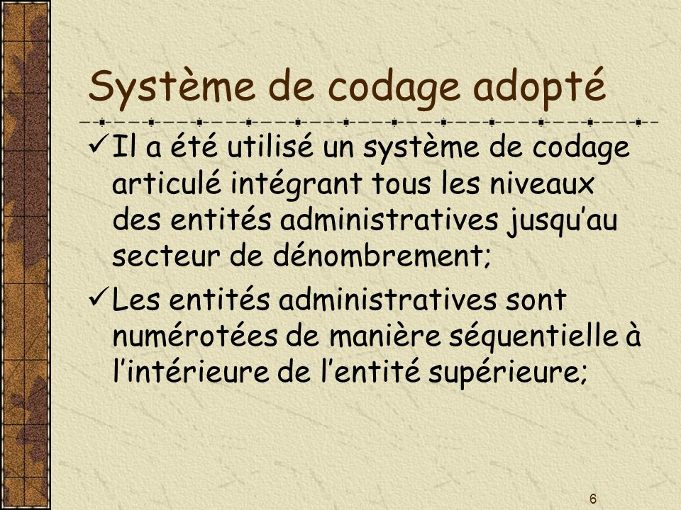 Système de codage adopté