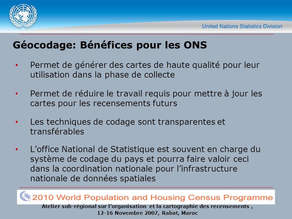 Géocodage: Bénéfices pour les ONS