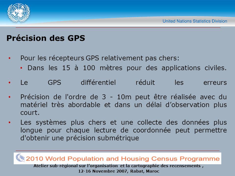 Précision des GPS Pour les récepteurs GPS relativement pas chers: