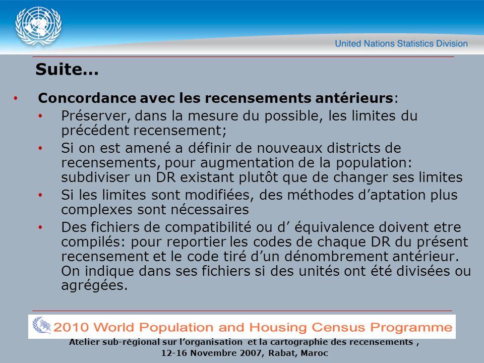 Suite… Concordance avec les recensements antérieurs: