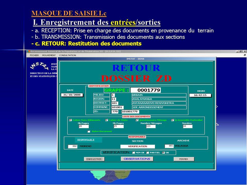 MASQUE DE SAISIE I. c I. Enregistrement des entrées/sorties - a