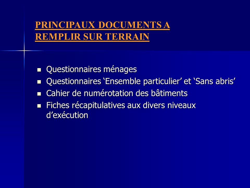 PRINCIPAUX DOCUMENTS A REMPLIR SUR TERRAIN
