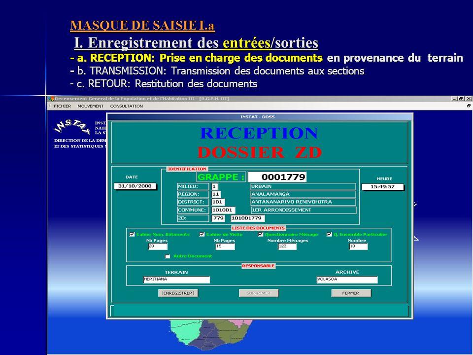 MASQUE DE SAISIE I. a I. Enregistrement des entrées/sorties - a