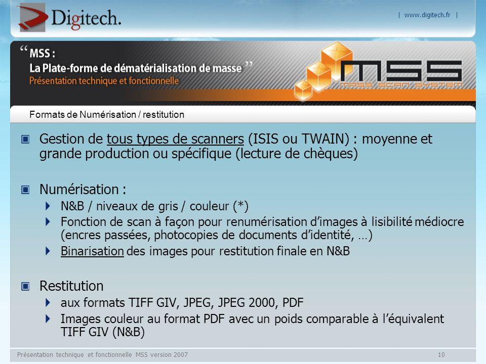 Formats de Numérisation / restitution