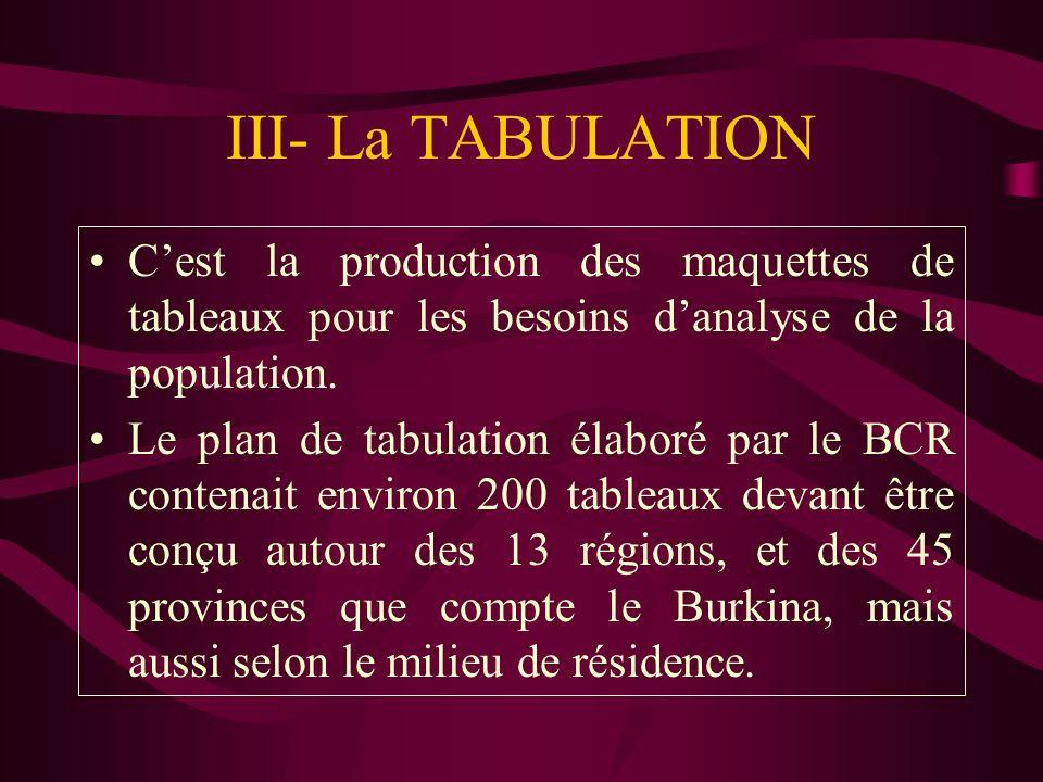 III- La TABULATION C'est la production des maquettes de tableaux pour les besoins d'analyse de la population.