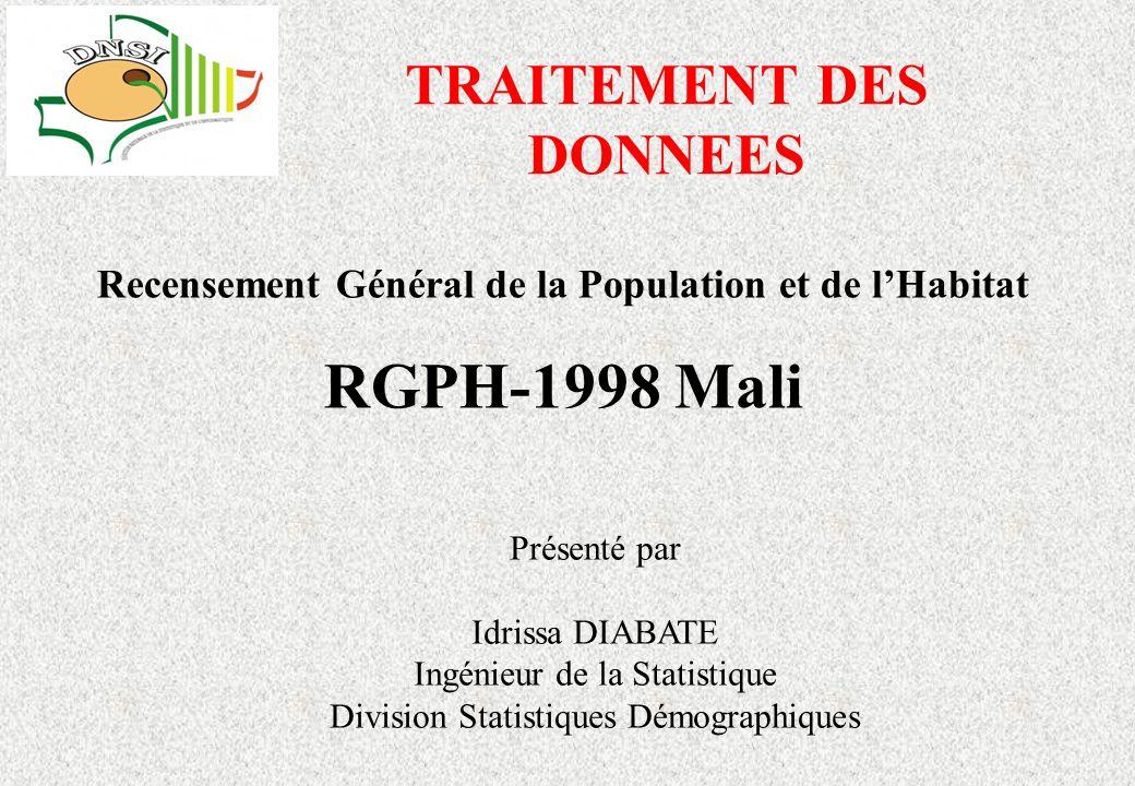 RGPH-1998 Mali TRAITEMENT DES DONNEES