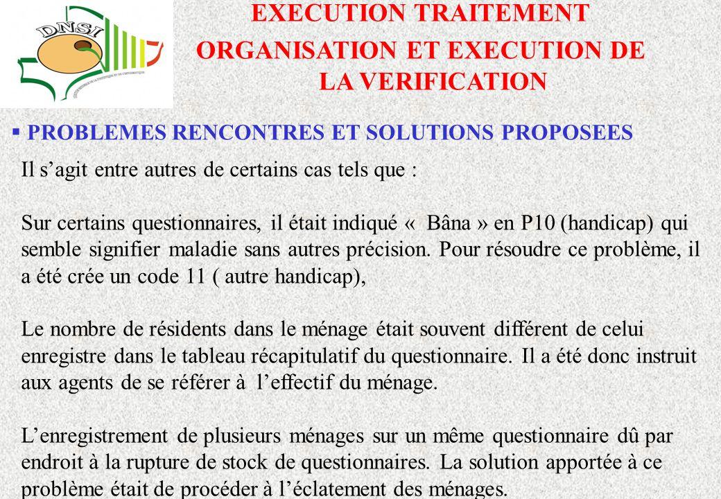 ORGANISATION ET EXECUTION DE LA VERIFICATION