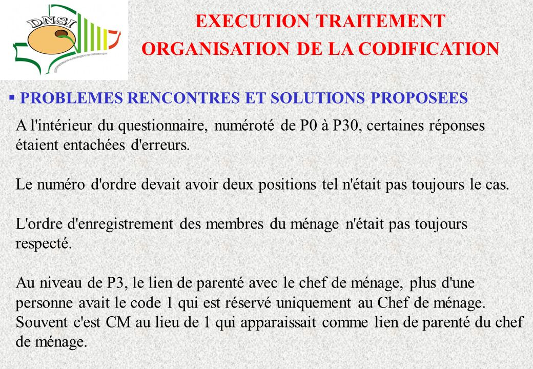 ORGANISATION DE LA CODIFICATION