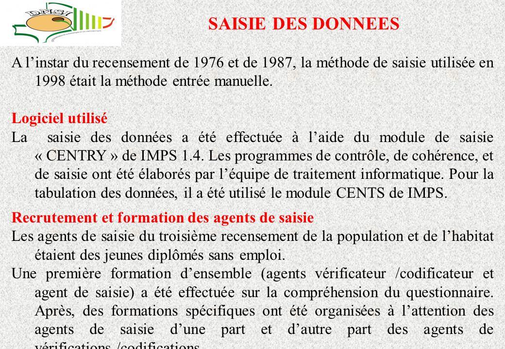 SAISIE DES DONNEES A l'instar du recensement de 1976 et de 1987, la méthode de saisie utilisée en 1998 était la méthode entrée manuelle.