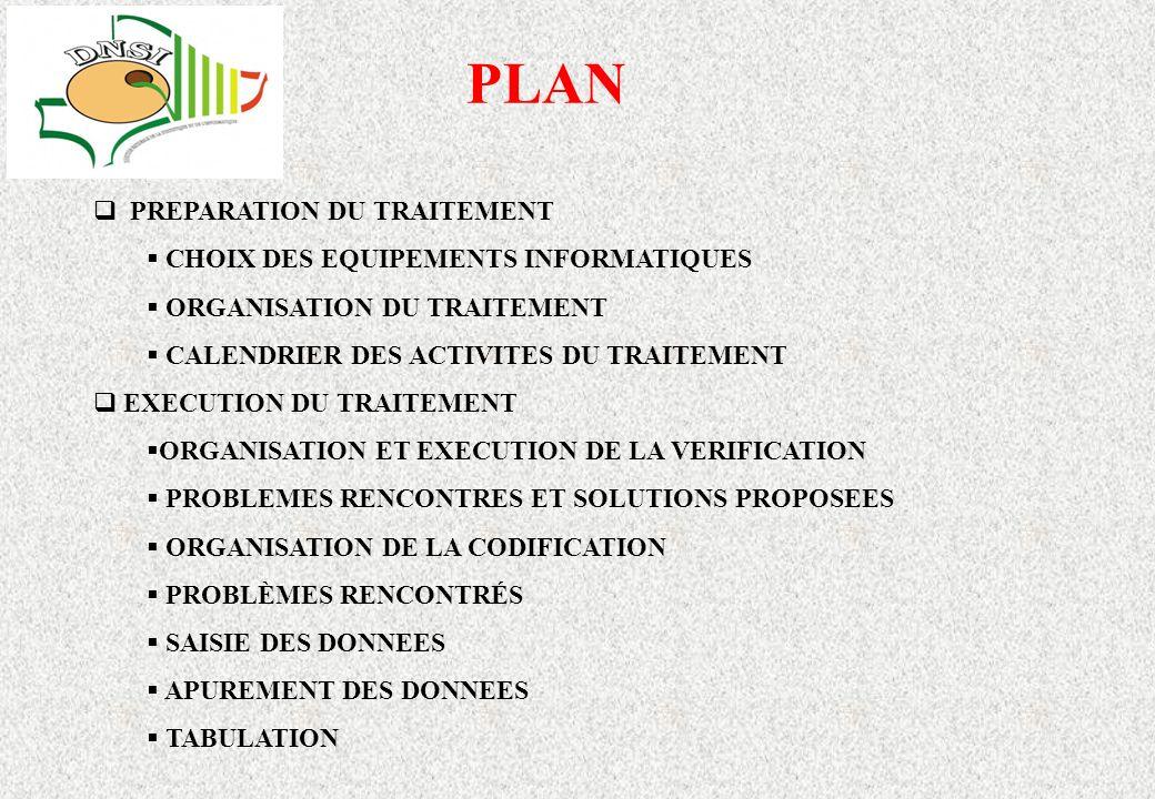 PLAN PREPARATION DU TRAITEMENT CHOIX DES EQUIPEMENTS INFORMATIQUES