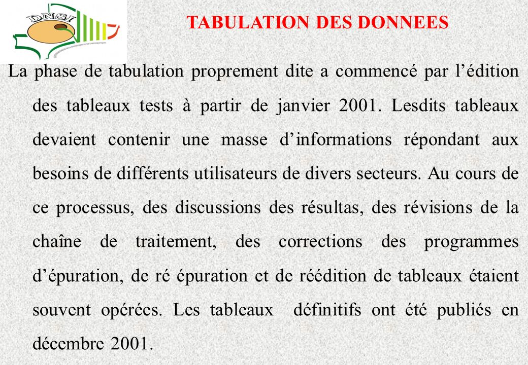 TABULATION DES DONNEES