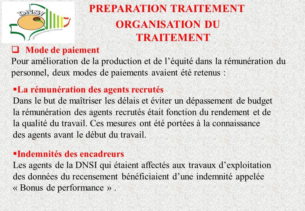 ORGANISATION DU TRAITEMENT