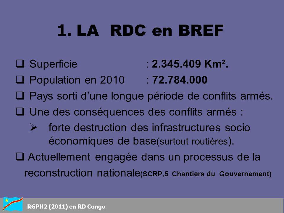 1. LA RDC en BREF Superficie : 2.345.409 Km².