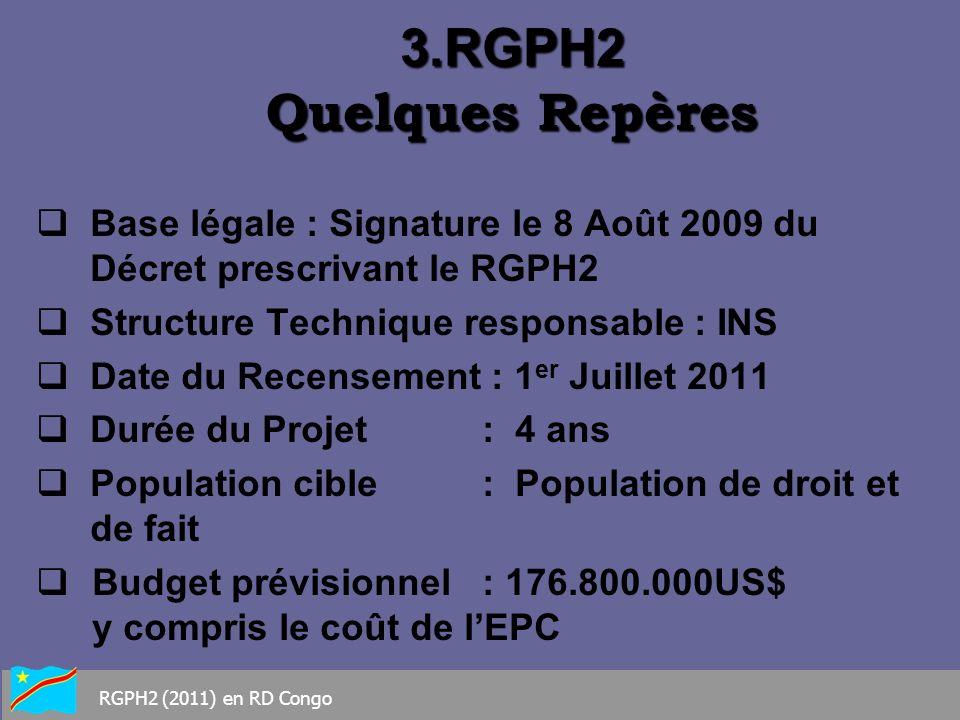 3.RGPH2 Quelques Repères Base légale : Signature le 8 Août 2009 du Décret prescrivant le RGPH2.