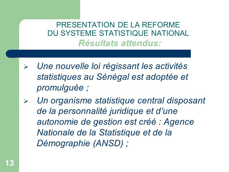 PRESENTATION DE LA REFORME DU SYSTEME STATISTIQUE NATIONAL Résultats attendus: