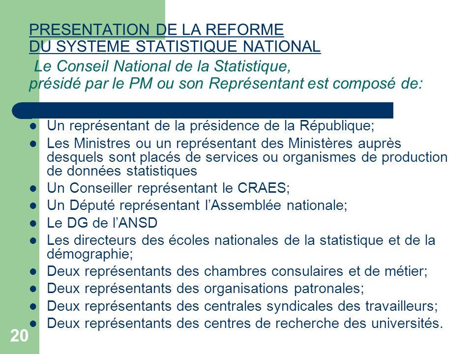 PRESENTATION DE LA REFORME DU SYSTEME STATISTIQUE NATIONAL Le Conseil National de la Statistique, présidé par le PM ou son Représentant est composé de: