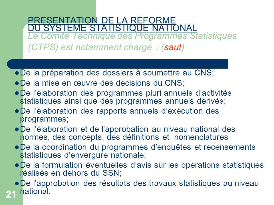 PRESENTATION DE LA REFORME DU SYSTEME STATISTIQUE NATIONAL Le Comité Technique des Programmes Statistiques (CTPS) est notamment chargé : (saut)