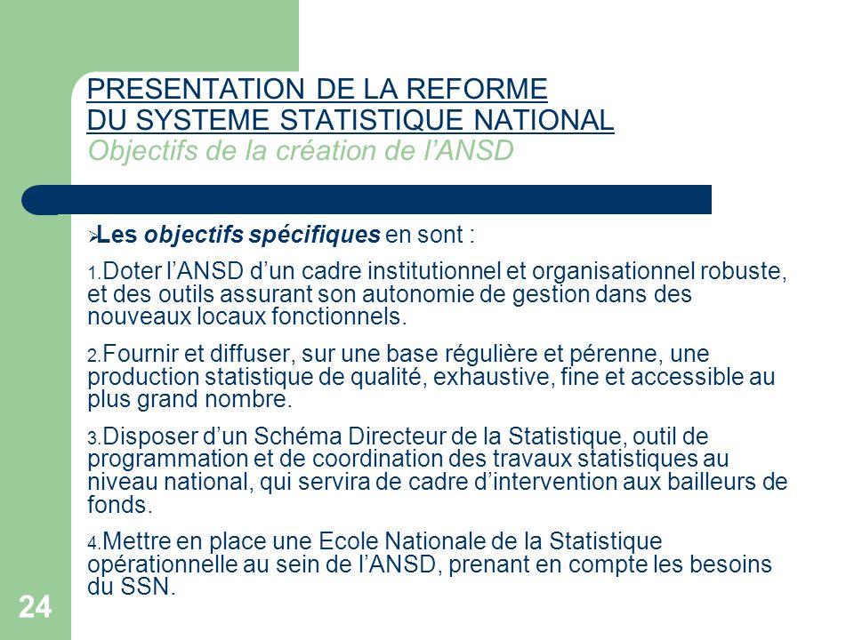 PRESENTATION DE LA REFORME DU SYSTEME STATISTIQUE NATIONAL Objectifs de la création de l'ANSD