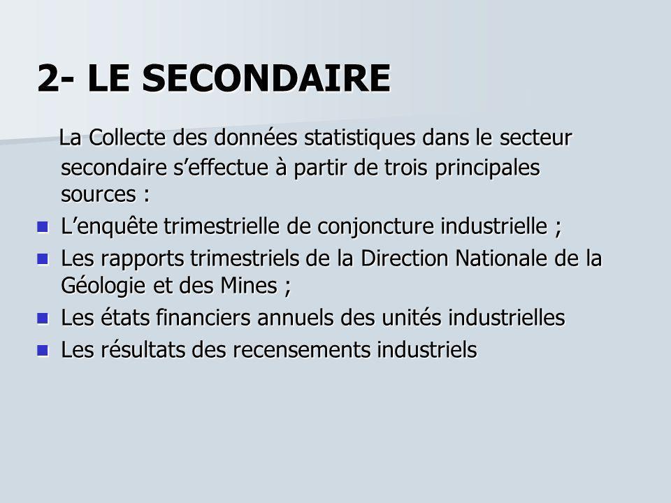 2- LE SECONDAIRE La Collecte des données statistiques dans le secteur secondaire s'effectue à partir de trois principales sources :