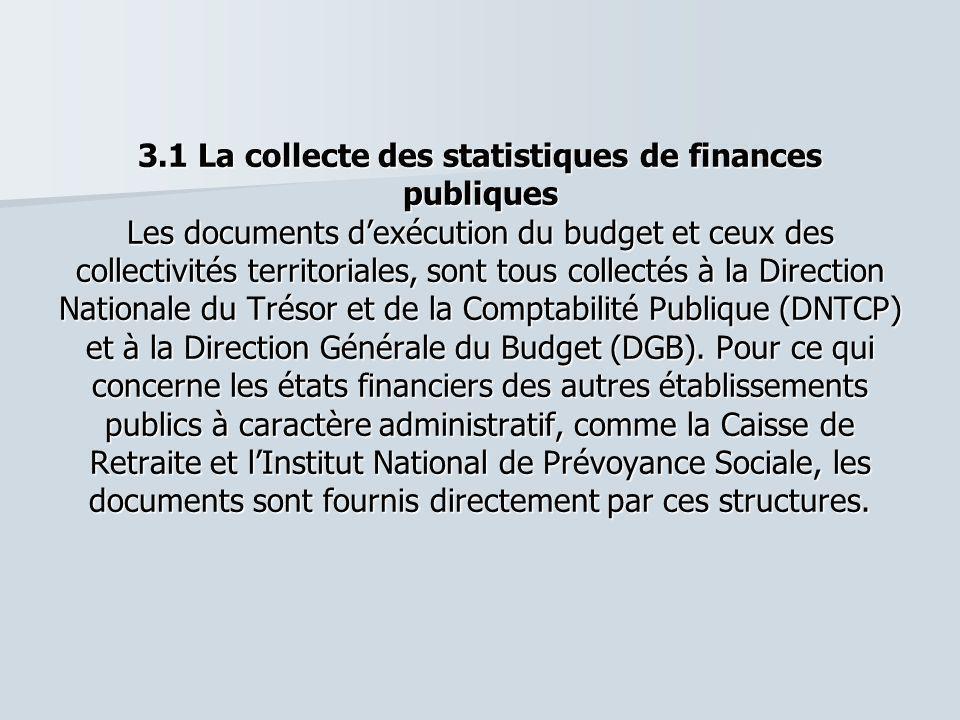 3.1 La collecte des statistiques de finances publiques Les documents d'exécution du budget et ceux des collectivités territoriales, sont tous collectés à la Direction Nationale du Trésor et de la Comptabilité Publique (DNTCP) et à la Direction Générale du Budget (DGB).