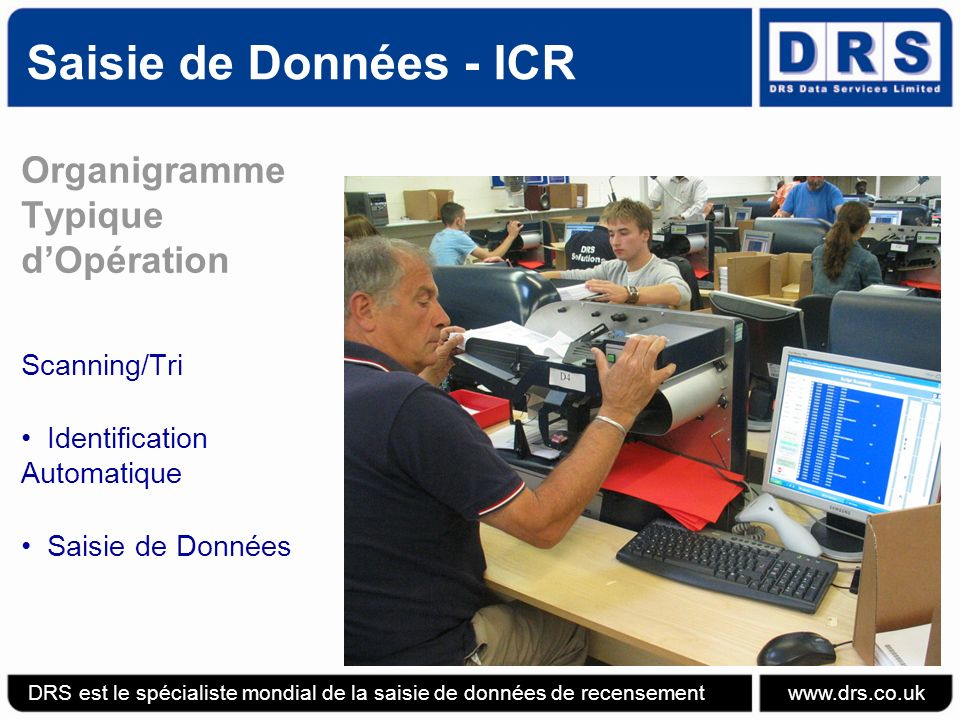 Saisie de Données - ICR Organigramme Typique d'Opération Scanning/Tri