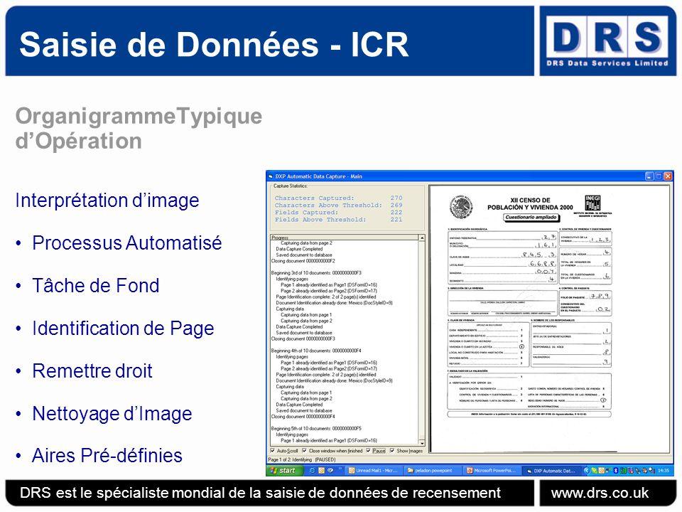 Saisie de Données - ICR OrganigrammeTypique d'Opération