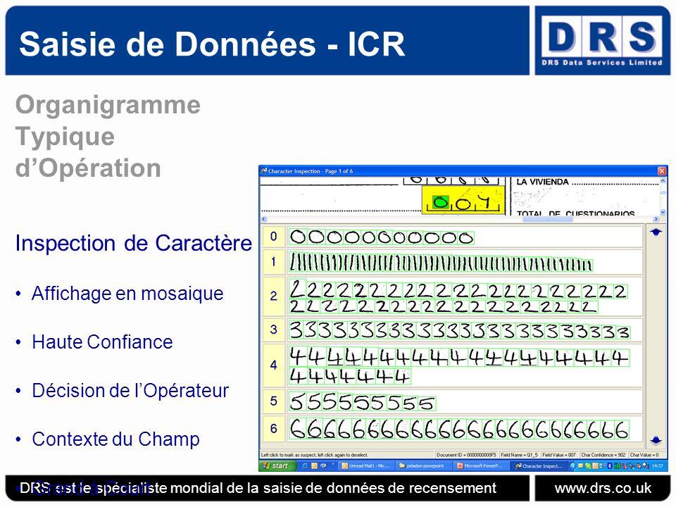 Saisie de Données - ICR Organigramme Typique d'Opération