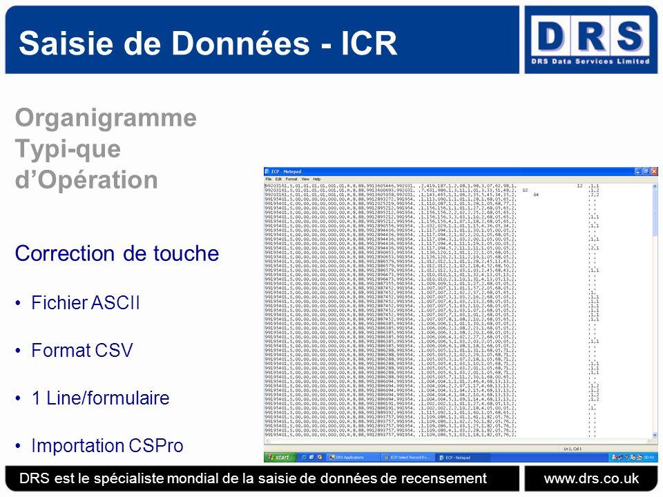 Saisie de Données - ICR Organigramme Typi-que d'Opération
