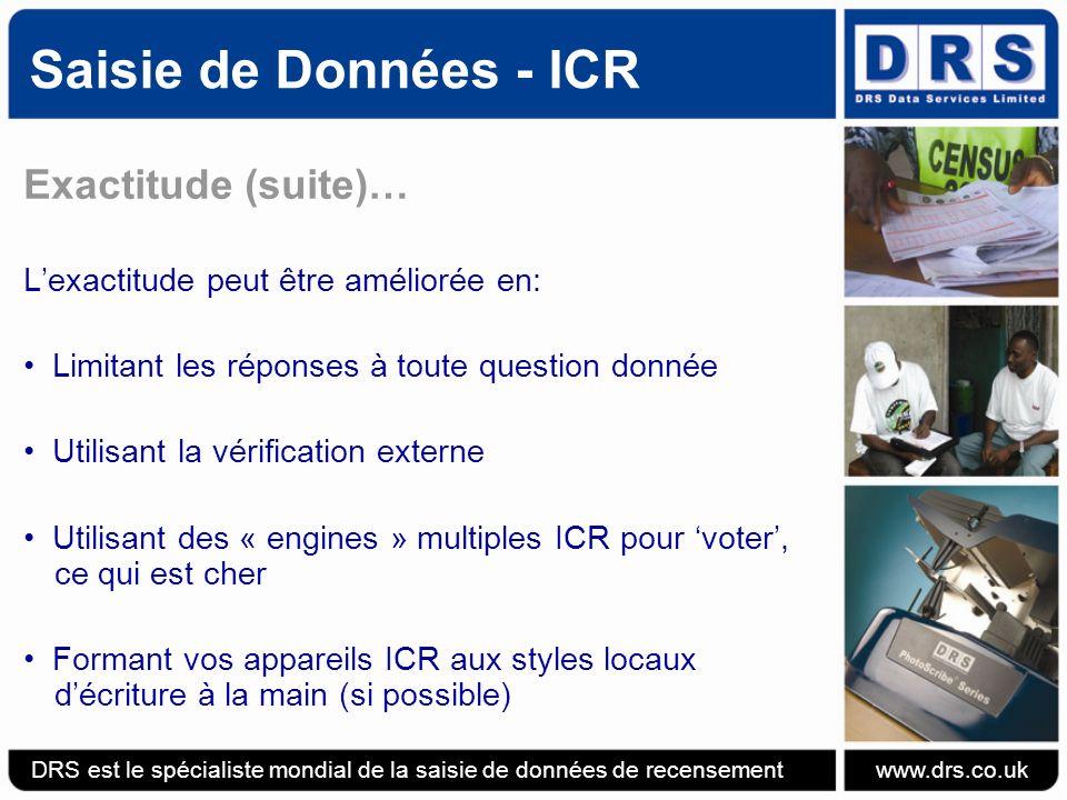 Saisie de Données - ICR Exactitude (suite)…